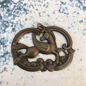 Vintage Brass pegasus metal stamping pendant